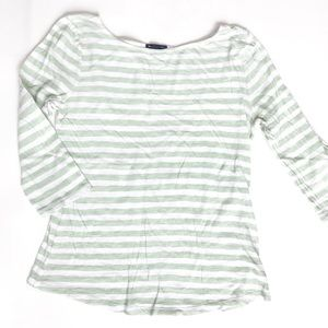 Tops - Gap Mint Green and White Striped 3/4 Sleeve Tee, M